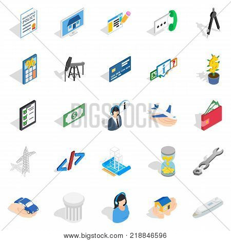 Market research icons set. Isometric set of 25 market research vector icons for web isolated on white background