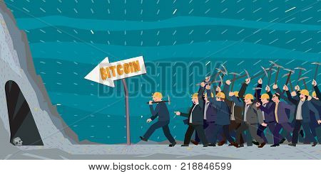 crowd of people hurry to dig out some goodies, bitcoin miners