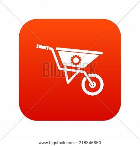 Wheelbarrow icon digital red for any design isolated on white vector illustration poster