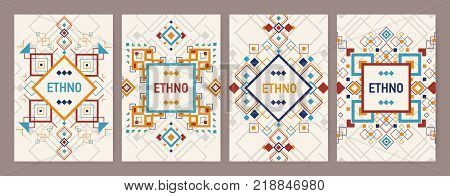 Collection of vertical backgrounds with traditional Aztec ornament or decorative border. Bundle of flyer or postcard templates with colorful geometric decorations in ethnic style. Vector illustration