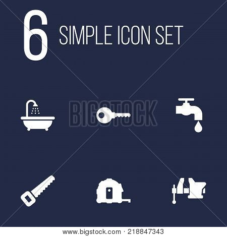 Collection Of Protection, Clamp, Bathroom And Other Elements.  Set Of 6 Construction Icons Set.