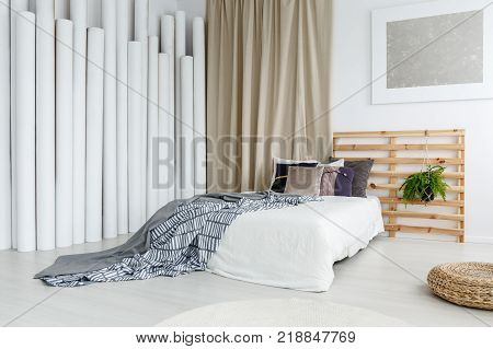 Silver Painting In Sophisticated Bedroom