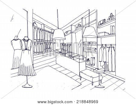 Outline drawing of fashionable clothing shop interior with furnishings, showcases, mannequins dressed in stylish apparel. Boutique or fashion store hand drawn with contour lines. Vector illustration poster