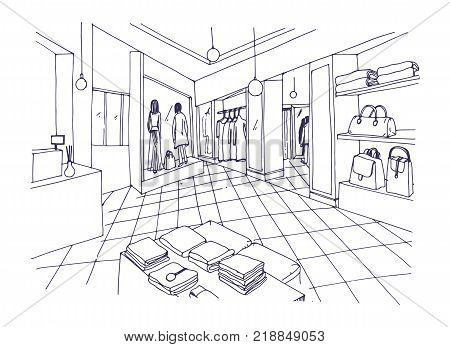 Monochrome freehand sketch of clothing showroom, boutique, trendy fashion store or apparel shop interior with shelving, counter, mannequins. Hand drawn vector illustration in black and white colors