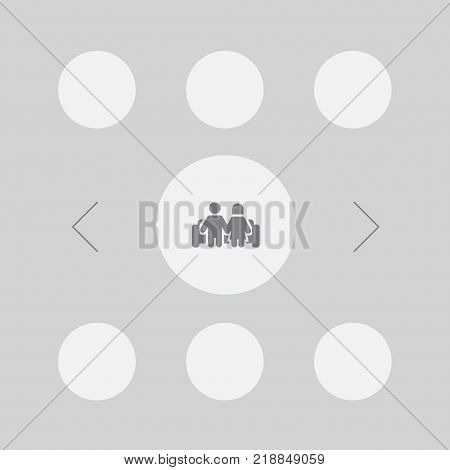 Collection Of Married, Grandson, Granddaughter Elements.  Set Of 7 Relatives Icons Set.