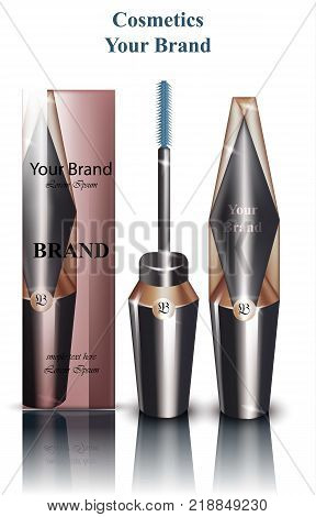 Mascara Vector realistic packaging mock up. Cosmetics brand ads. Brush and Original shape container design
