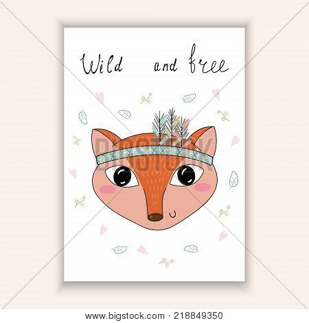 Hand drawn vector illustration with Cute vector Fox.