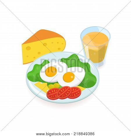 Delicious healthy breakfast consisted of boiled eggs, salad, olives, tomatoes, cheese slices lying on plate and glass of orange juice. Tasty and nutritious morning food. Colored vector illustration