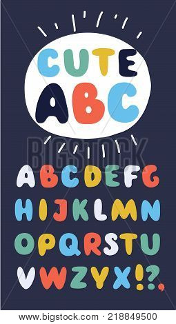 Vecor cartoon cute funny english ABC. Collection of funny alphabet and set of numbers. Cute colorful english font, hand drawn typeface in different colors on dark background.