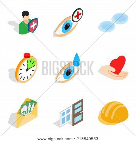 Fend icons set. Isometric set of 9 fend vector icons for web isolated on white background