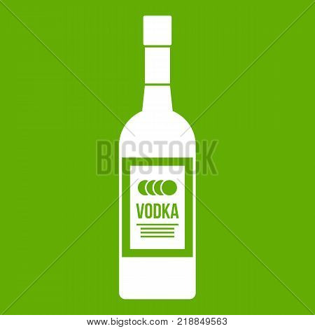Bottle of vodka icon white isolated on green background. Vector illustration
