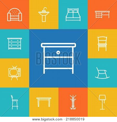 Collection Of Moving Chair, Sofa, Nightstand Elements.  Set Of 13 Situation Outline Icons Set.