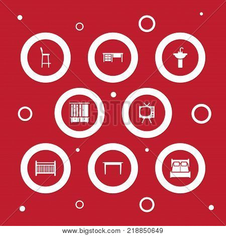 Collection Of Worktop, Cot, Wardrobe And Other Elements.  Set Of 8 Set Icons Set.