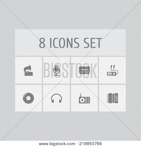 Collection Of Turntable, Retro Disc, Radio And Other Elements.  Set Of 8 Song Icons Set.
