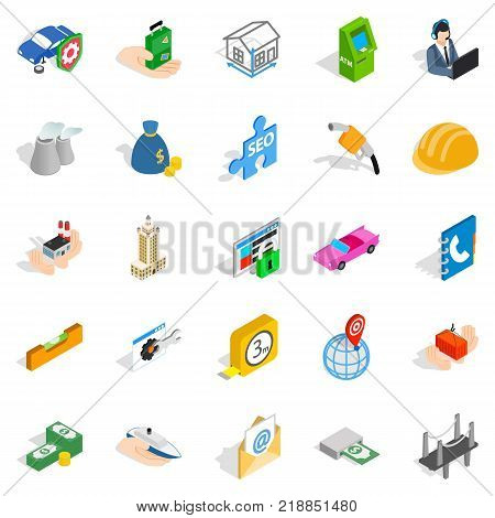 Concern icons set. Isometric set of 25 concern vector icons for web isolated on white background