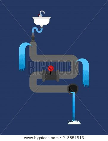 Litter in sink. Water pipe is spoiled. old pipes. Water leak. Sewerage is broken. Vector illustration