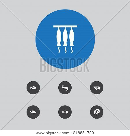 Collection Of Sink, Acne, Fish And Other Elements.  Set Of 7 Seafood Icons Set.