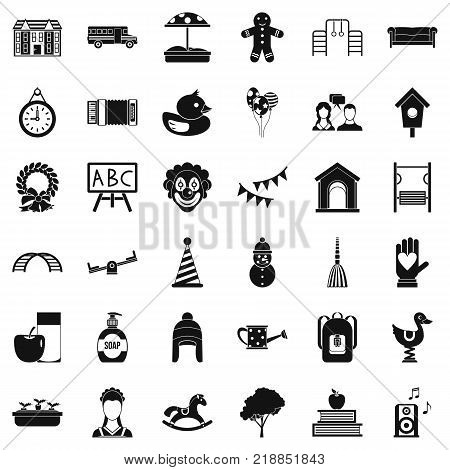 Children playground icons set. Simple style of 36 children playground vector icons for web isolated on white background