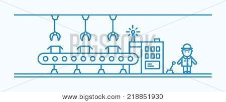 Industrial belt conveyor equipped with hanging manipulators conveying boxes, factory worker in hard hat controlling production process. Monochrome vector illustration drawn with blue contour lines