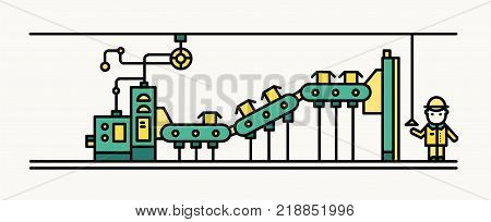 Factory belt conveyor conveying boxes, worker wearing hard hat and protective clothing controlling production process. Automated manufacturing and machinery. Vector illustration in line art style