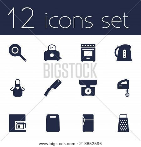 Collection Of Furnace, Slicer, Kitchen Ax And Other Elements.  Set Of 12 Kitchen Icons Set.