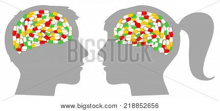 Man and woman head silhouette with brain full of drugs concept illustration about pills abuse.