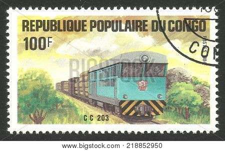 Congo - CIRCA 1984: Stamp printed by Congo Multicolor memorable edition offset printing on the topic of Railway and Trains shows Locomotive Cc 203