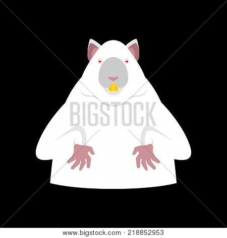 Laboratory mouse is white. Red eyes. Rat for experiments. Experimental rodent. Vector illustration
