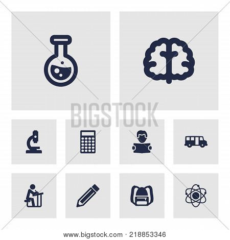 Collection Of Flask, Student, School Autobus And Other Elements.  Set Of 10 Studies Icons Set.