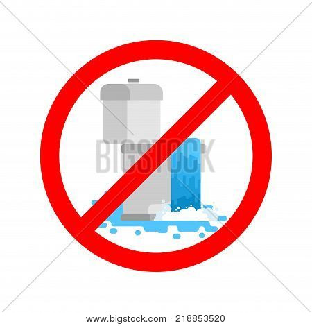 Stop toilet is clogged. It is forbidden to use toilet. Prohibition sign. Vector illustration