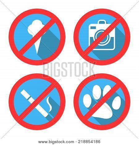 Forbidding Vector Signs No Dog or Pets, No Ice-cream, No Smoking and No Photo. Vector
