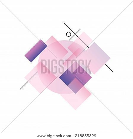 Gradient geometric forms in pink and purple colors, trendy colorful abstract geometric objects, design for label, presentation, poster, banner or card, modern decoration shapes and figures vector Illustration on a white background