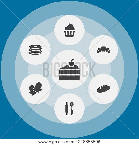 Collection Of Loaf, Sweetmeat, Muffin And Other Elements.  Set Of 7 Cooking Icons Set.