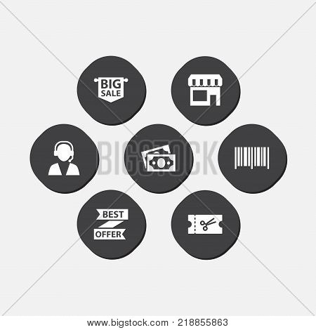 Collection Of Best Offer, Online Support, Advertising And Other Elements.  Set Of 7 Shopping Icons Set.