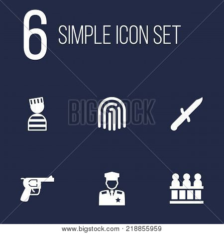 Collection Of Bayonet, Policeman, Prisoner And Other Elements.  Set Of 6 Criminal Icons Set.