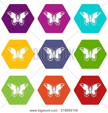 Admiral butterfly icon set many color hexahedron isolated on white vector illustration