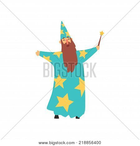 Cheerful man with long beard in blue wizard costume with yellow stars and cone hat. Cartoon male with magical wand. Entertainment concept. Colorful flat vector illustration isolated on white.