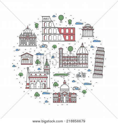 Italy travel poster with national architectural attractions. Historic italian famous landmarks and traditional symbols on white background. Touristic advertising vector layout in trendy linear style.