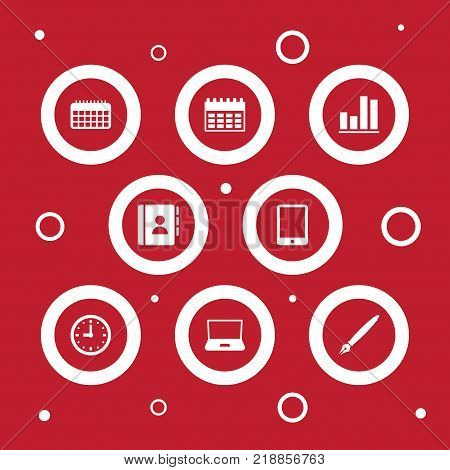 Collection Of Calendar, Palmtop, Agenda And Other Elements.  Set Of 8 Work Icons Set.
