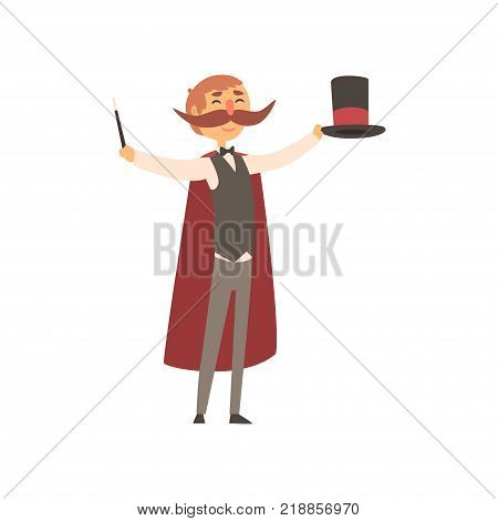 Happy magician standing with top hat and magic wand in hands. Cartoon character of man with big moustached, dressed in costume and red cloak. Circus performer. Colorful flat vector illustration.