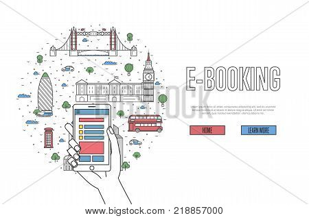 E-booking poster with british famous architectural landmarks in linear style. Online tickets ordering, mobile payment concept with smartphone in hand. World traveling, London historic attractions