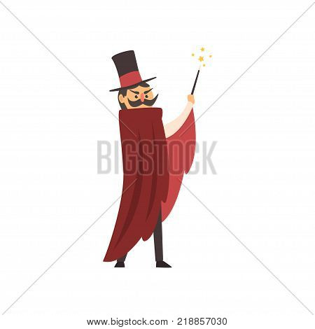 Moustached illusionist waving his magic wand. Cartoon magician character with red mantle and cylinder hat. Circus performance. Colorful vector illustration in flat style isolated on white background.
