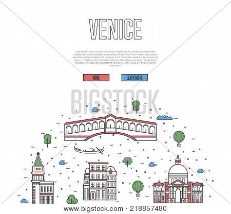 Venice travel poster with national architectural attractions. Historic italian famous landmarks and traditional symbols on white background. Touristic advertising vector layout in trendy linear style.
