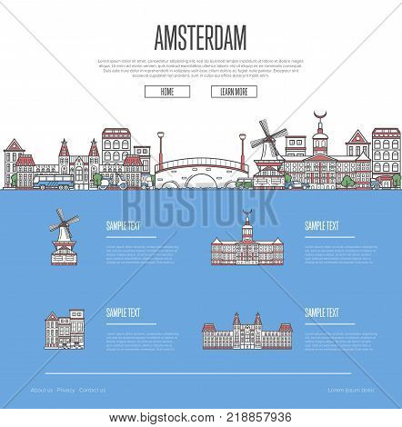 Amsterdam city travel vacation guide with most important architectural attractions in linear style. Amsterdam skyline with famous landmarks. Netherlands traveling, european journey vector concept