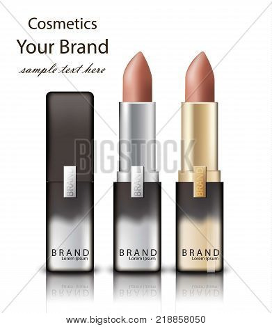 lipstick realistic packaging Vector. Mock up Original golden tube with Brand label decor