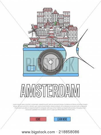 Travel Amsterdam poster with famous architectural attractions on big camera. European traveling advertising, time to travel vector in linear style. Amsterdam historic landmarks, holland tourism