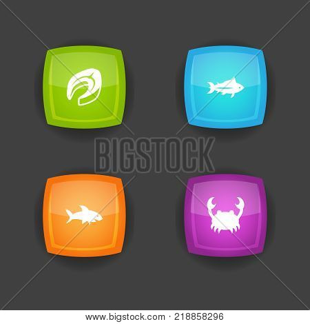 Collection Of Shark, Tunny, Beefsteak And Other Elements.  Set Of 4 Seafood Icons Set.