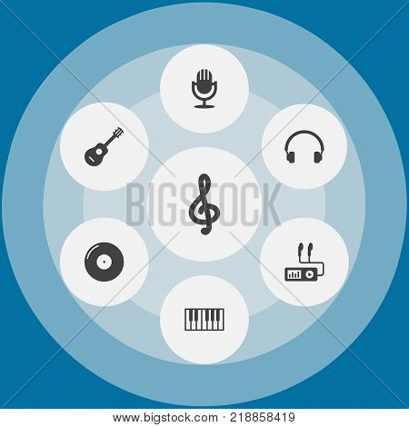 Collection Of Earphones, Acoustic, Quaver And Other Elements.  Set Of 7 Song Icons Set.