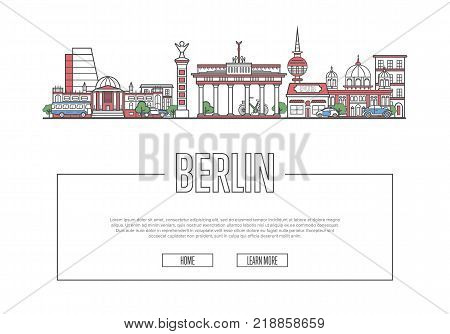 Travel Berlin vector composition with famous architectural landmarks in linear style. Worldwide traveling and time to travel concept. Berlin historic attractions on white background, european tourism