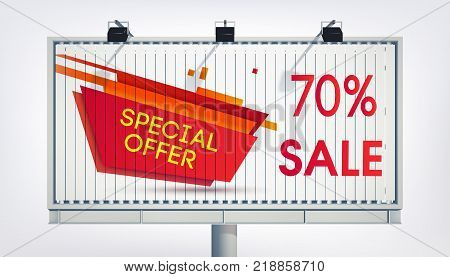 Big billboard sale banner with three lights, gigantic word sale and special offer in realistic style on the white background vector illustration